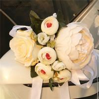 DIY düğün dekor kolu kapı araba çiçek çiçek buketi eli çiçek aksesuarları ipek Valentine çelenk çelenk pencere dikiz aynası