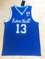 Basketball Jersey Branco Azul de 2020 Myles Powell Jersey 13 # Seton Hall University College Sewn Bordados Homens Tamanho S-XXL Esporte Hot Sale