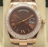 Роскошные часы мужские из нержавеющей стали Автоматическая механика Movment DayDate с бриллиант роскошных часов Мужские часы Оригинальный Застежка замок, часы