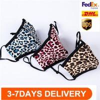 EEUU Stock de moda leopardo de las mujeres de la cara Máscaras de diseño transpirable Boca máscara máscaras Earloop al aire libre del polvo anti tela de algodón de la boca cubierta FY0072
