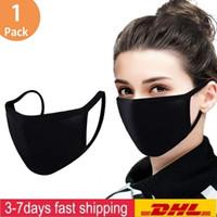 Bisiklet Kamp Seyahat% 100 Pamuk Yıkanabilir Tekrar Kullanılabilir Kumaş maskeler Moda Ayarlanabilir Anti Toz Yüz Maskesi Siyah Pamuk