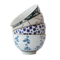 Vintage Bol de riz en porcelaine japonaise de 4,5 pouces peint à la main peinte bleue fleur de prune sur la glaçure blanche ancienne