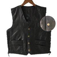 Gilet de moto en cuir noir pour les hommes Véritable Gilet Punk Biker cuir bouton dentelle Veste automne manches pour les hommes