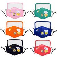 Urso dos desenhos animados Crianças Crianças Máscara Designer rosto com máscaras Escudo Eye reutilizável lavável Protective Dustproof Earloop algodão FY9147
