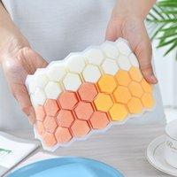 Silicone Honeycomb Ice Food Grade flexível Bandeja Ice Mold tampa sobrepostos Moldes Cores de fazer gelo Self Made VT1414