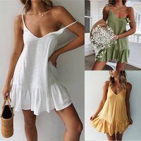 Mini Yaz Elbise Kayışı Kapalı Omuz Beyaz Fırfır Artı Boyutu Gevşek Rahat Keten Sundress Seksi Kolsuz Parti Plaj Elbise Bayan