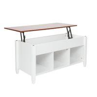 Novo Elevador Branco Top Mesa de Café Escondida Compartimento de Armazenamento Prateleira Casa Mobiliário Prático Tabela US Stock