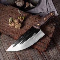 High Carbon Steel Hand geschmiedete Küchenkochmesser Sharp Fleischerbeil Butcher Slaughter Messer voller Zapfen Farbe Holzgriff im Freien Camping