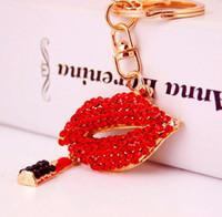 Designer Red Lips Designer Car Keychain Bank Diamante Ciondolo Ciondolo Gioielli Rossetto Portachiavi Portachiavi per Donne Regali Moda Catena chiave Accessori