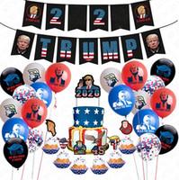 24pcs / lot Donald Trump 2020 Bandera globos Conjunto Trump cumpleaños pica + Látex confeti Globos + trompeta Torta de AccessriesD72202