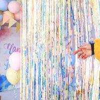 Мишура Фольга Fringe Шторы Party Photo Booth Реквизит Backdrop металлическая дверь занавес окна День рождения Свадьба украшения Xmas