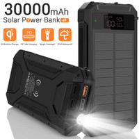 Banque Solar Power Bank 30000MAH 18W PD QC3.0 10W QI Wireless PowerBank Powerbank Cell Chargeur de téléphone portable Huawei P30 Pro