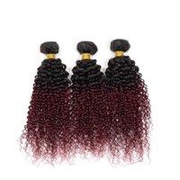 Color de cabello virginal Camboyano sin procesar Ombre 1B 99J Kinky Rizado 3 paquetes Peinados humanos Tejidos extensiones