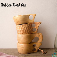 Nordic Style 4 Kinds Rubber Wood Tea Cups with Handles Kuksa...