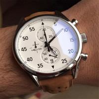 NEW ARRIVALCalibre SpaceX Chrono Flyback Секундомер белый циферблат Коричневый кожаный ремень Мужские часы Спортивные часы Gent VK Хронограф