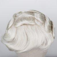 Erkekler Peruk # 613 Sarışın Remy İnsan Saç Erkek peruk Tam PU Saf El Yapımı İçin Erkek Saç Protez Ücretsiz Kargo