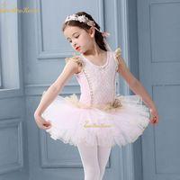 Cute Pink Swan Lake Ballet Danse Costume Filles Dancewear Dentelle Tutu Ballet Girl Dress justaucorps Vêtements enfants ballerine enfants