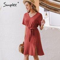 Vestidos casuais simple elegante v pescoço mulheres dress strap strap botões de algodão verão trabalho desgaste sólido batwing manga escritório 2021