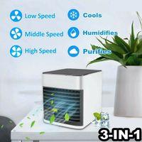 Mini USB portátil ar mais frio ar condicionado ventilador 7 cores claras desktop Air Cooling Fan Umidificador purificador Para o Office Bedroom