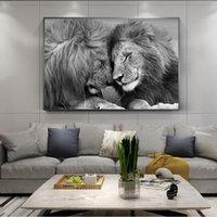 Nordic Black African Lions Leinwand Gemälde Lion Kopf an Kopf-Kunst-Wand-Kunst für Wohnzimmer Wohnkultur (kein Feld)