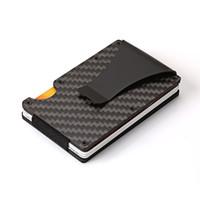 من ألياف الكربون المال كليب سبائك الألومنيوم والبنك بطاقة مربع بطاقة حامل محفظة بطاقة حالة مكافحة إزالة المغناطيسية فرشاة 20bs E2