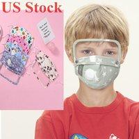 US-Stock-Karikatur-Kind-Kind-Gesicht Parteischablone mit Augen-Schild-Atemventil mehrfachverwendbare waschbaren Schutzstaubdichtes Earloop Baumwolle Masken