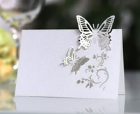Láser tarjeta de asiento hueco tridimensional tabla de mariposa tarjeta del asiento de la boda de sesión de escritorio kit de la invitación de boda Tarjeta blanca