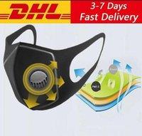 Máscara dos EU Stock Ice cara de seda com a respiração Designer Válvula Preto lavável Máscara Máscaras reutilizáveis anti-poeira máscara protetora Preto Recycle Válvula