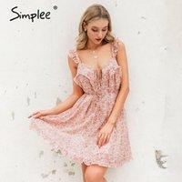 Lässige Kleider Simplee Sleepled Sleeveless Frauen Kleid Blumendruck Leaf Strap Lose Boho Sommer Strand A-Linie Gürtel Mini