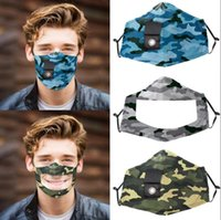 Camo Straw Masken Visible Lippen Sprache Gesichtsmaske mit Clear Window-Antistaub Deaf Mute Masken OOA8241
