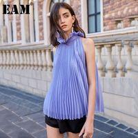 Blouses Femmes Chemises [Eam] Femmes Purple Plissé Blouse Split Blouse Stand Collier Sans manches Loose Fit Chemise Mode Tide Spring Summer 2021 1w8