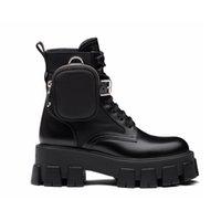 stivali da combattimento pelle Rois spazzolato e Nylon Boots Martin scarpe alla caviglia per le donne la cinghia con il sacchetto di nylon 55 millimetri unico rivestimento in gomma rimovibile