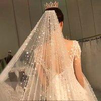 Designer Dubai Pearls uma camada de tule Beading Bridal Veils luxo artesanal Wedding Veils Acessórios Wedding 3,3 metros para a igreja