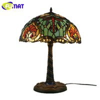 Fumat Tiffany Style Home Decor Table Lamp Stained Glass Multicolor Desk Lighting Rose Morning Glory Uva paralume Mosaic Frame