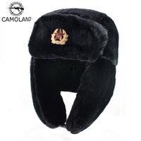 CAMOLAND Sovyet Trapper Trooper Şapka Erkek Ordu Askeri Rus Rus kalpağı Bombacı Şapka Kış Sıcak Caps Pilot Sahte Tavşan Kürk Kış kulaklığı T200718