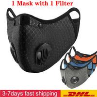 Ciclismo maschera di protezione Attivato Maschere di carbonio anti-fog antivento traspirante antipolvere protezione solare esterna Sport Ciclismo viso maschere FY9060