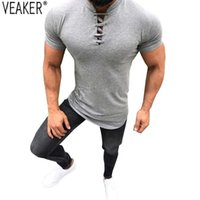 camisa bandagem T Sexy de 2020 New Men Tops Male Grey Black Slim Fit sólida Collar Cor Mandarim camisa de manga curta t S-3XL