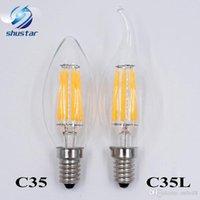 Dim E14 E12 Filament Led Lamba 220V 110V 2W 4W 6W Led Edison Ampul Cam Karartma Filament Mum Lamba Noel Işıklar