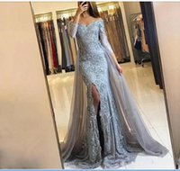 2020 New Silver Mermaid Prom Dresses With Train Long Sleeves V Neck Appliques Satin Sparkly Formal Evening Gowns Formal Dresses Custom