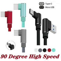 USB-кабель 2А ткань плетена 90 градусов Микро Тип C Линия данных для Samsung S9 S8 S7 NOTE8 смартфон 1M 2M 3M