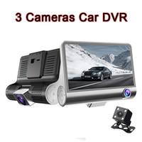 """داش كاميرات سيارة DVR قيادة مسجل فيديو 3CH السيارات داش كاميرا للرؤية الليلية 1080P 4 """"شاشة G- الاستشعار وقوف السيارات"""