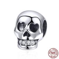 925 Sterling Silver Skull Head Skelett Pärlor Charm Fit Armband Halsband Halloween Smycken Tillbehör DIY Julklapp Mix Design Partihandel