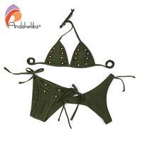 Anadzhelia Sexy brasilianische Bikinis Frauen Badeanzug 2020 Sommer-Metallkorn-Falten-Bikini-Satz drei Stück Bademode Badeanzug
