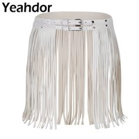 Women Adjustable Faux Leather Waistband Fringe Tassel Skirt Double Waist Belt Daily Sexy Club Performance Party Costumes Skirts