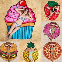 Yeni Moda Pizza Donut Plaj Havlusu Açık Piknik Mat Yumuşak Battaniye Dekor Seyahat Yaz Kamp Plaj Havlusu DDA139