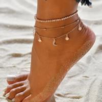 Sommer neuer europäischer und amerikanischer Multi-Layer-Damen-wulstiger Sternmond Strand Fußkettchen weiblichen Armband-Hersteller Großhandel freies Verschiffen