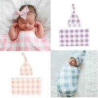 Blanket Infant Blanket Newborn Swaddle Hat Bag Muslin Plaid 2Pcs Boys Wrap Receiving Sleeping Baby Kids Girl Ecnvq