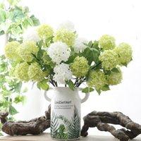 2Heads artificielle hortensia balle fleurs blanches boule de neige flores Accueil Party décoration de mariage décorations de Noël tombent LX2424 faux fleurs