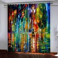 Rideaux sur mesure 3d coloré peinture à l'huile urbain sous la pluie Fenêtres Rideaux pour Salon Chambre décor rideau d'occultation