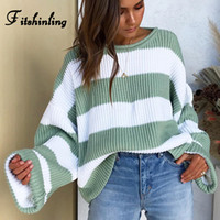 Fitshinling Striped Loose Ladies Sweater Pullover 2019 Autum...